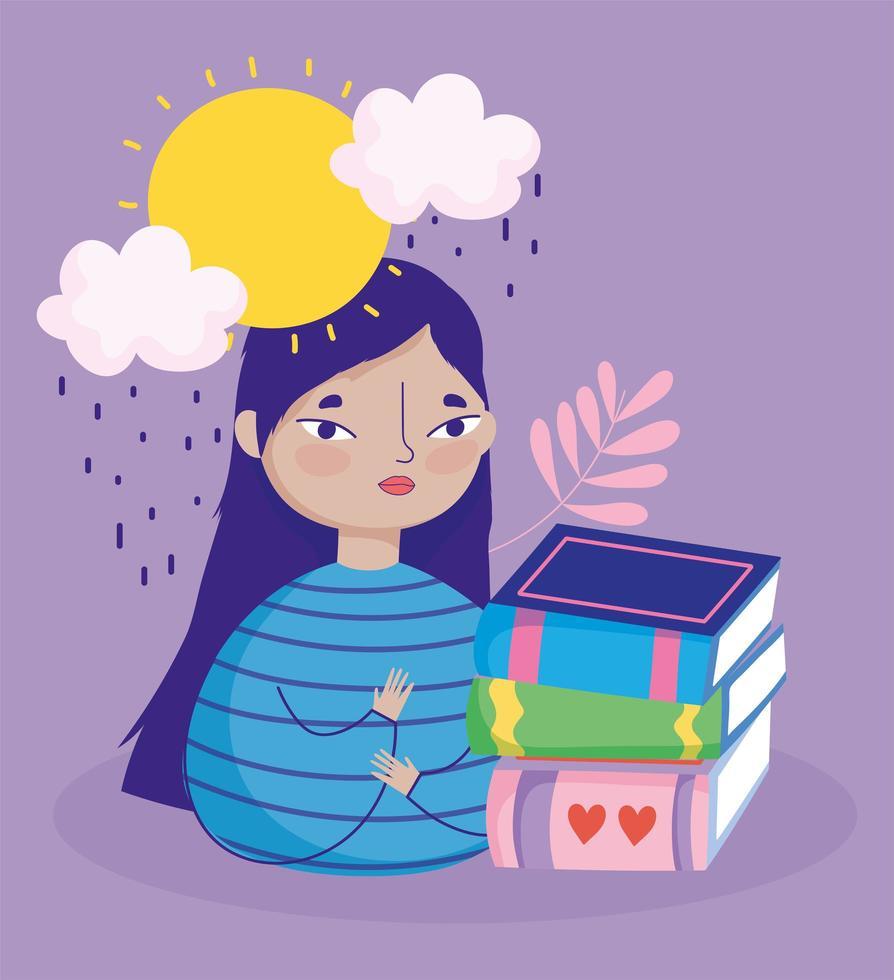 1234530-ragazza-con-un-stack-di-libri-in-the-rain-gratuito-vettoriale